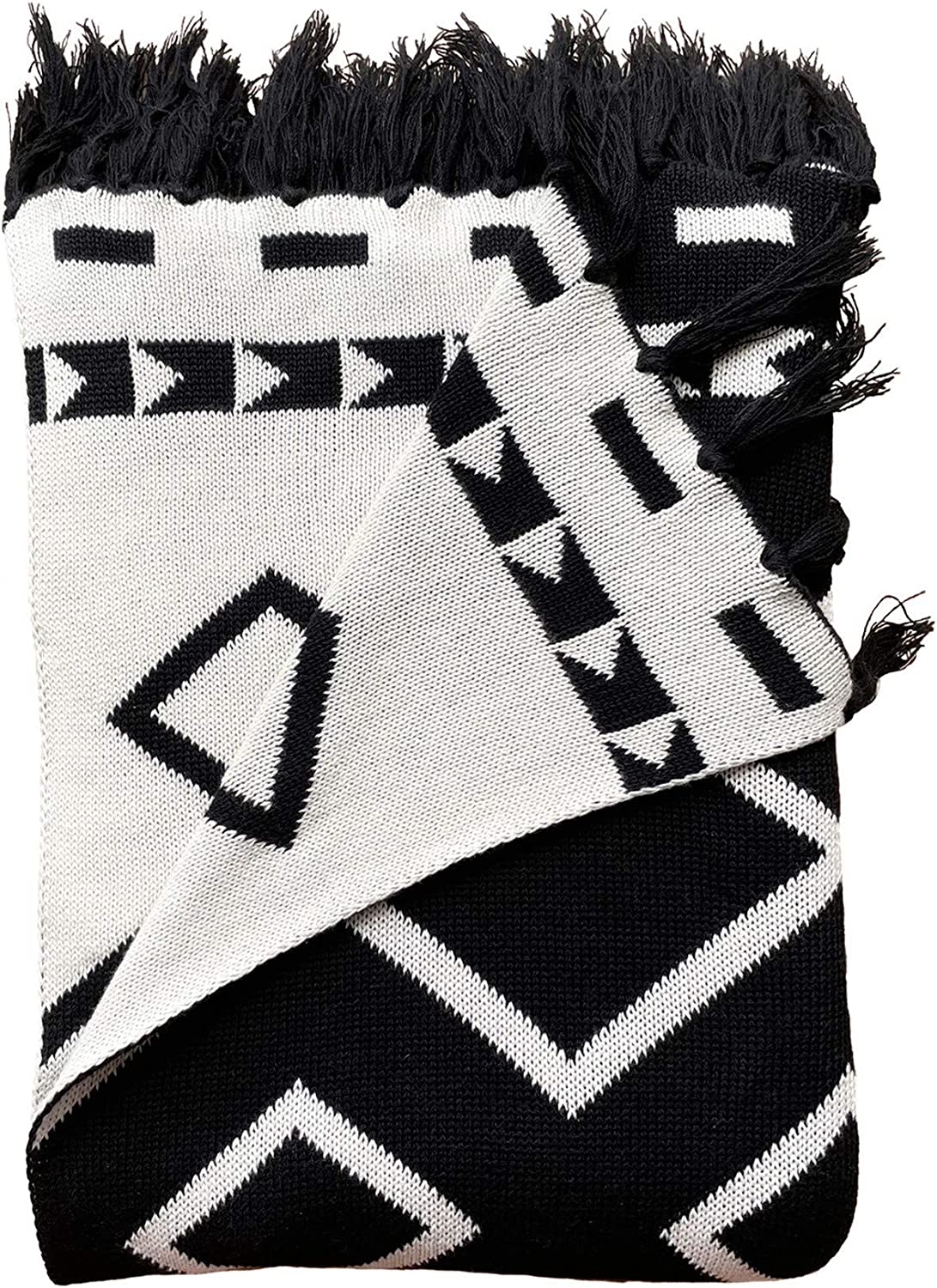 Snugtown 100% Cotton Cable Knit Double Layer Warm Cozy Throw Blanket, Nordic Diamond Pattern Home Decorative Blanket Throw with Tassels for Couch Chairs Bed, Black and White, 50 x 60 Inches