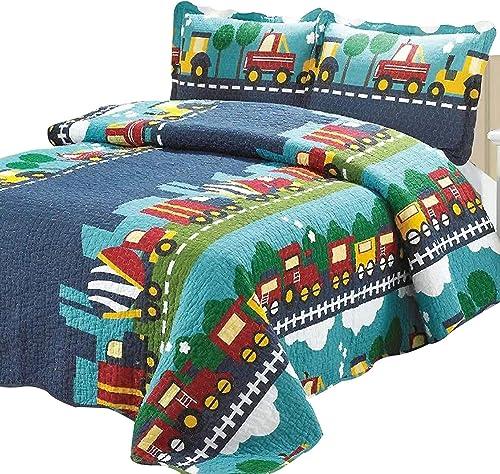 Brandream Kids Bedding Set Queen Full Size Cotton Train Trucks Quilted Comforter Set Boy Lightweight 3-Piece