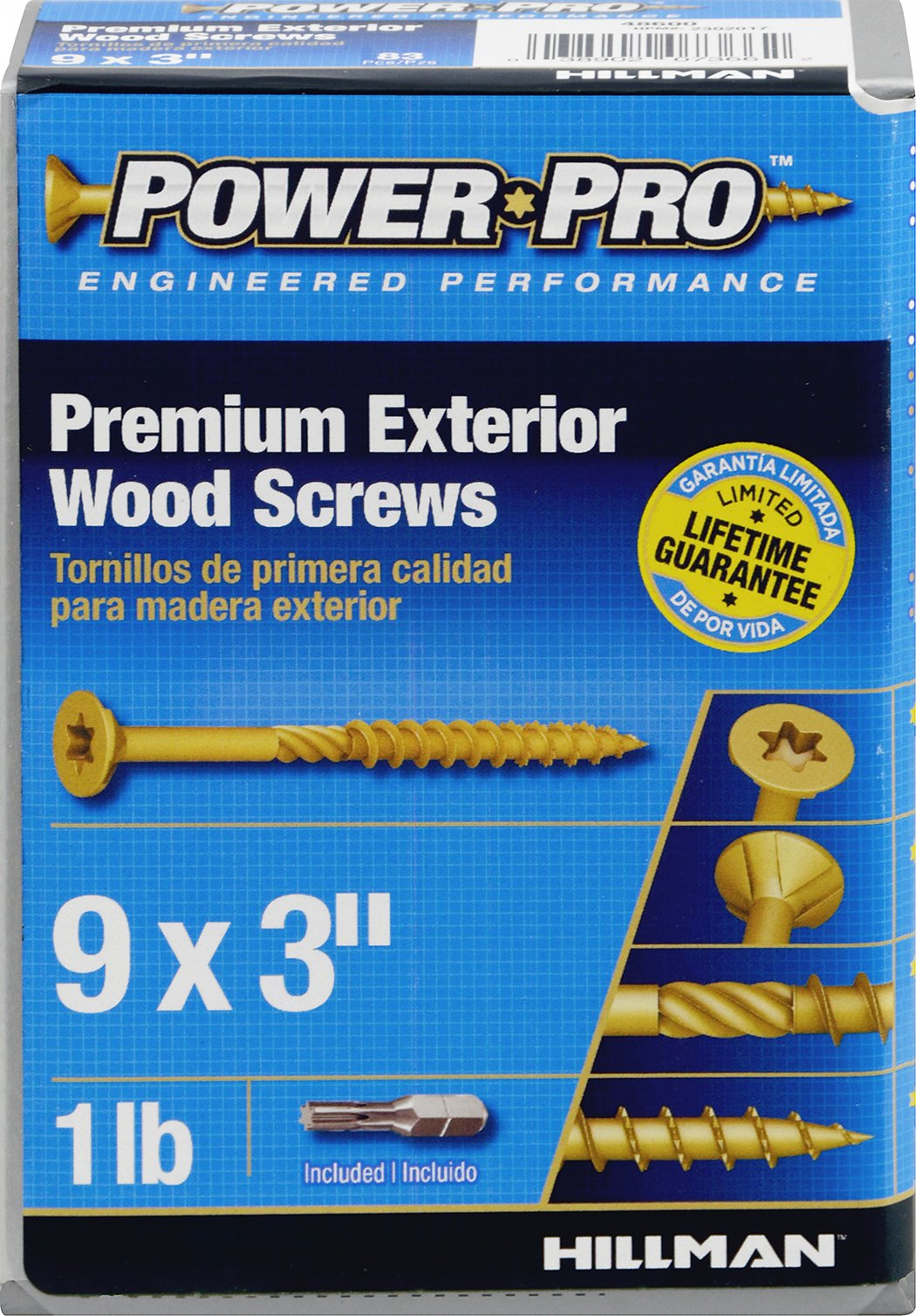 The Hillman Group 48600 Power Pro Exterior All Purpose Screw, 9'' x 3''