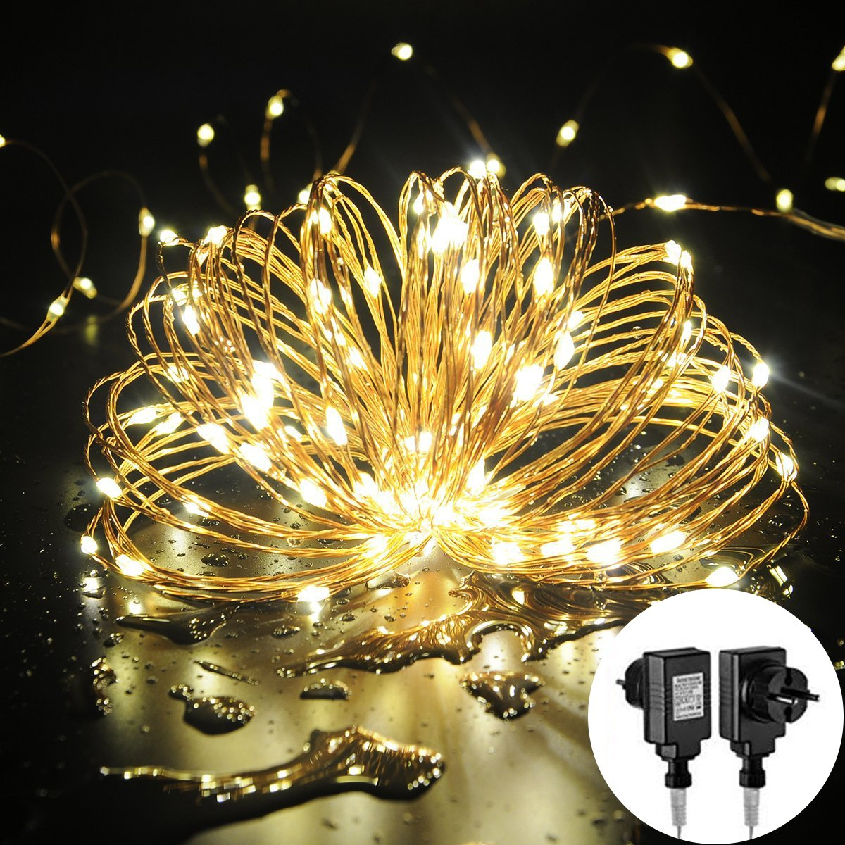 Halloween 100 LED Guirlande Lumineuses Imperméable 10 M, MORECOO Guirlande Etoilées Intérieur et Eclairage Micro Décoration en Cuivre pour la Toussaint/ Halloween/ Noël/ Fête/ Party/ Jardin/ Maison/ Mariage/ Anniversaire etc [Classe énergét