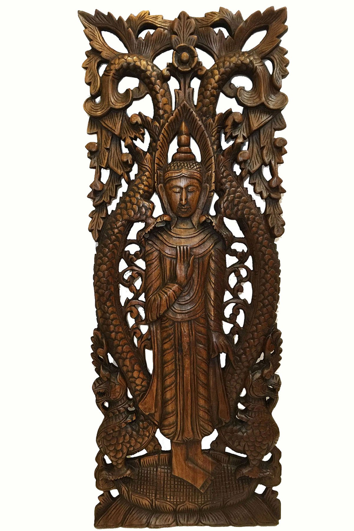 Thai Standing Buddha with Dragon Wood Carved Wall Art. Serenity Buddha Carved Wood Wall Panel Decor Size 35.5''x13.5'' Extra Thick Asiana Home Decor (Brown) by Asiana Home Decor