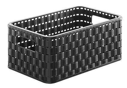 Rotho Country - Caja de almacenaje con efecto de mimbre, Negro, A5