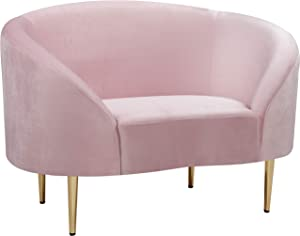 """Meridian Furniture Ritz Collection Modern   Contemporary Velvet Upholstered Chair with Sturdy Metal Legs in Rich Gold Finish, Pink, 43.5"""" W x 31.75"""" D x 30.5"""" H"""