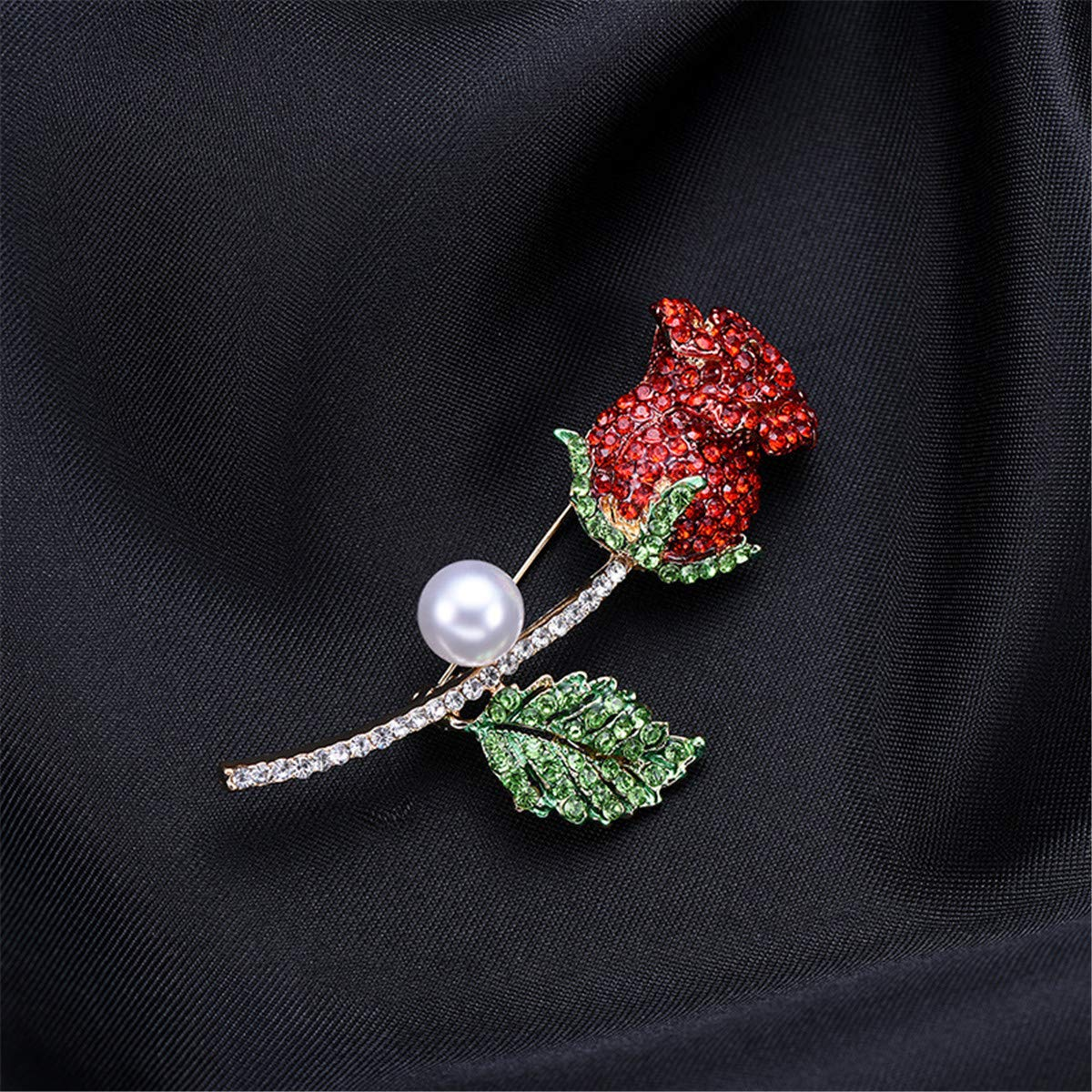 Wedding Jewelry Brooches Rose Flower Pearl Pin for Women Girl Mother