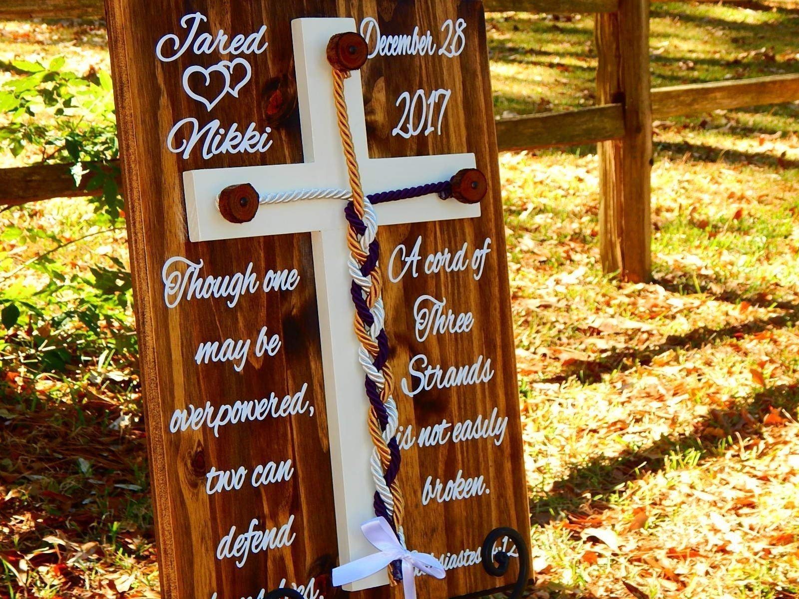 Wooden Cross Rustic Cord Of Three Strands Unity Wedding Wall