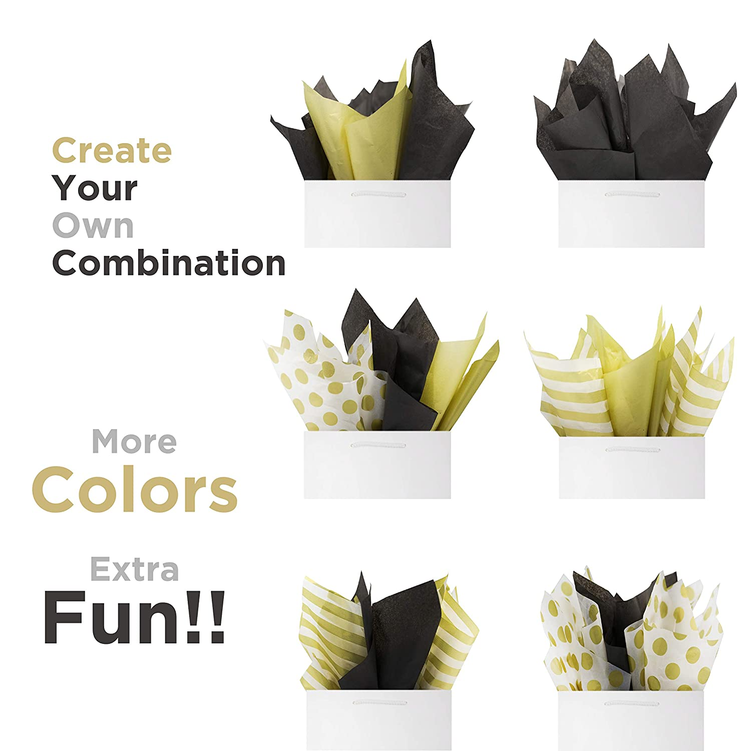 Black Tissue Paper 60 Sheets Set Premium Quality Black and Metallic Gold,Perfect for Art Craft Decoration Baby Shower by BllalaLab Birthday Wedding