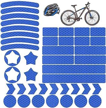 Vegena Reflektoren Aufkleber Sticker 42 Stück Reflexfolie Set Selbstklebend Hochreflektierend Reflektoren Aufkleber Set Für Kinderwagen Fahrrädern Motorräder Helmen Sport Freizeit