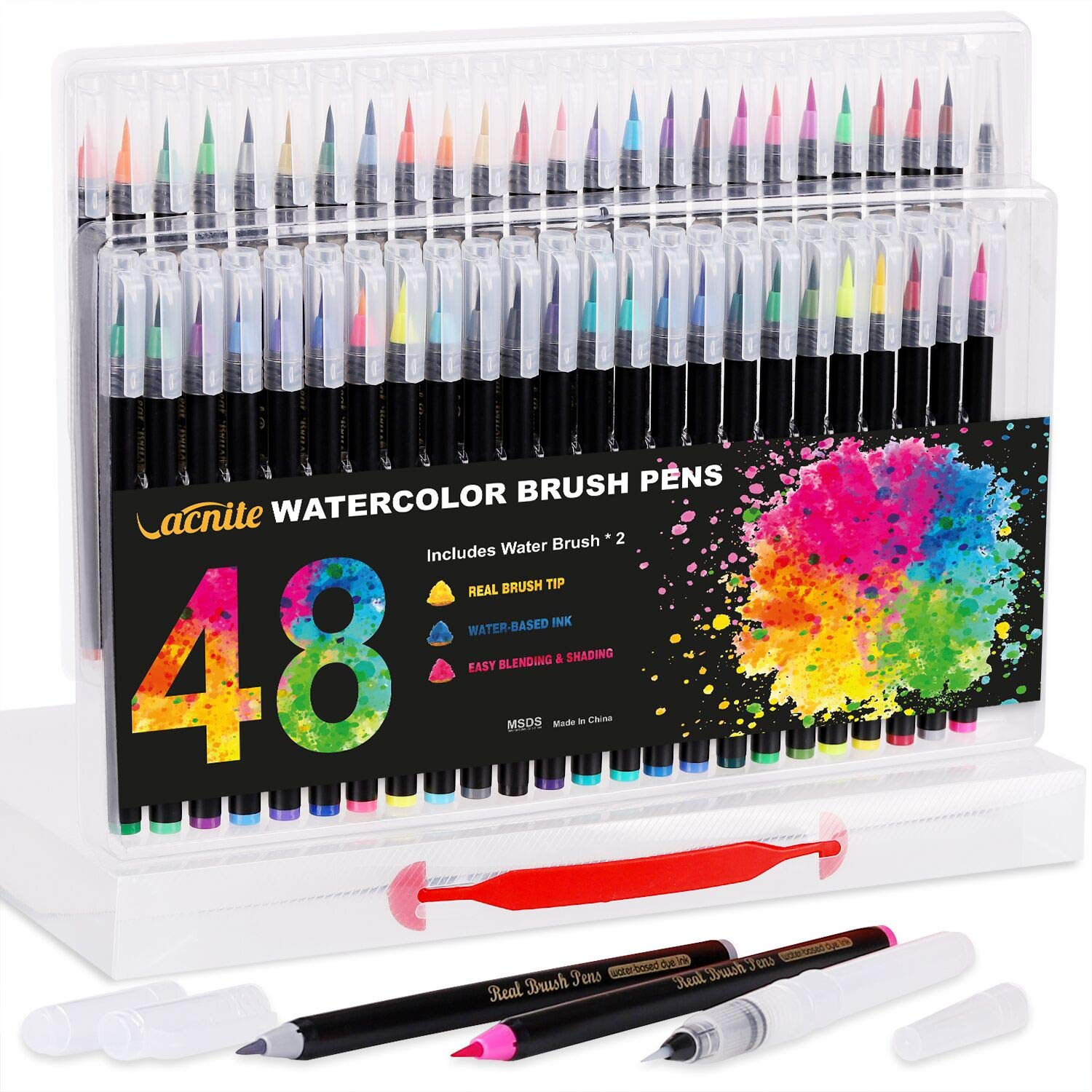 Vacnite Watercolor Brush Pens, Set of 48 Colors Watercolor Markers and 2 Water Pens, Flexible Real Brush Tips, Paint Pens for Artists, Beginners, Adults and Kids Coloring, Calligraphy and Drawing