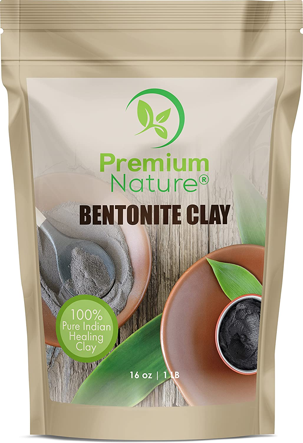 Indian Healing Bentonite Detox Clay - 16 oz 100% Natural Reduces Acne - Natural Deep Pore Cleansing - For Skin & Hair Removes Toxins