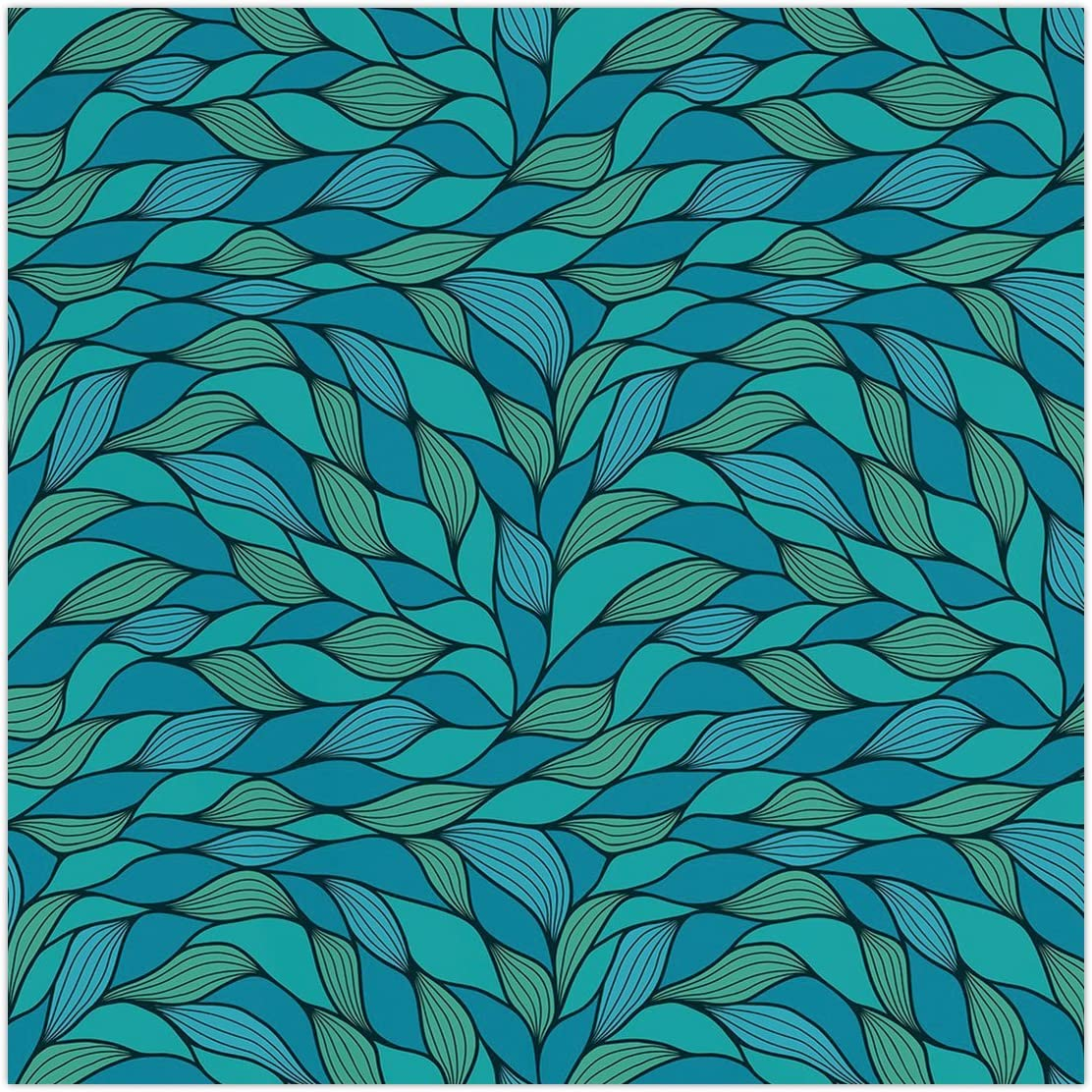 Polyester Square Tablecloth Teal Abstract Wave Design With Ocean Themed Marine Life Pattern Print Decorative Blue Mint Green Dining Room Kitchen Picnic Table Cloth Cover For Outdoor I Amazon Co Uk Kitchen Home