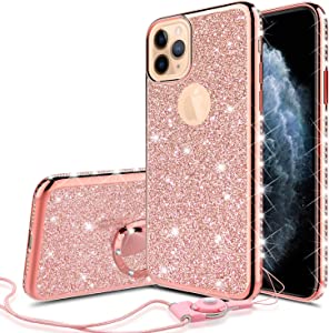 Glitter Cute Phone Case Girls Kickstand Compatible for Apple iPhone 11 Case,Bling Diamond Rhinestone Bumper Ring Stand Thin Soft Sparkly Case for iPhone 11 - Rose Gold