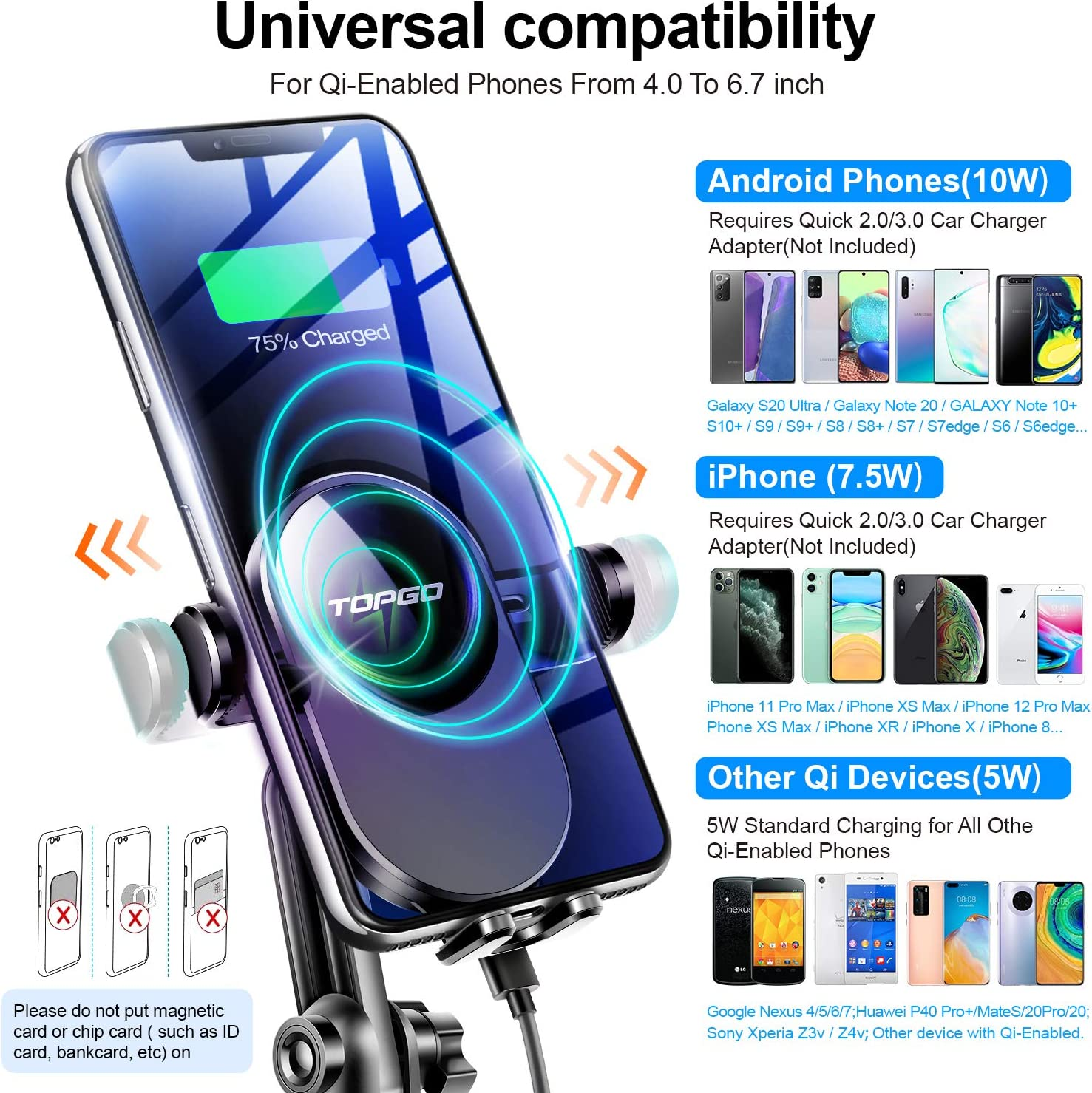 Samsung Galaxy Black Upgraded TOPGO Cup Holder Phone Mount Wireless Charger,Universal Cell Phone Holder Car Charger Wireless-Charger-Cup-Phone-Holder Fast Charging for iPhone11//11 Pro//11 Pro Max