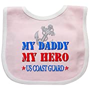 Inktastic - Daddy Hero US Coast Guard Baby Bib Pink/White