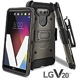 LG V20 Case, Celljoy [Carbon Stealth Armor] LG VS995 H990 Dual Layer Protective [[Shockproof]] Hybrid {Reinforced Impact Bumper} Rugged Cover Kickstand [Locking Swivel Belt Clip Holster Combo] (Black)