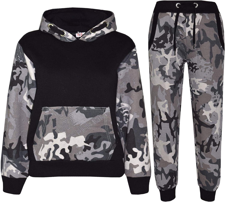 Kids Boys Girls Tracksuit Designer Camouflage Contrast Top