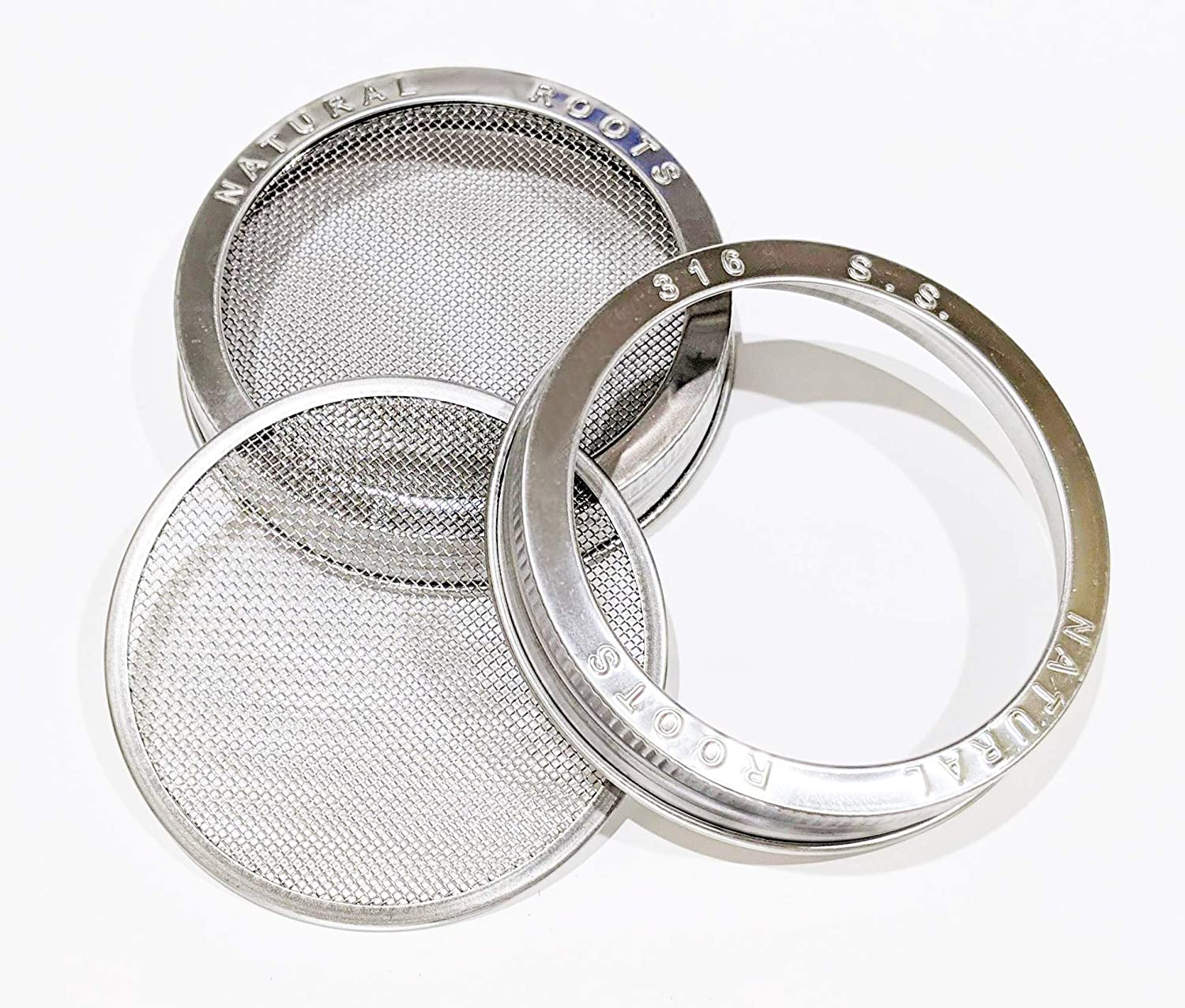 Sprouting Lids with SS 316 Screen for Wide Mouth Mason Jars for Bean Sprouts