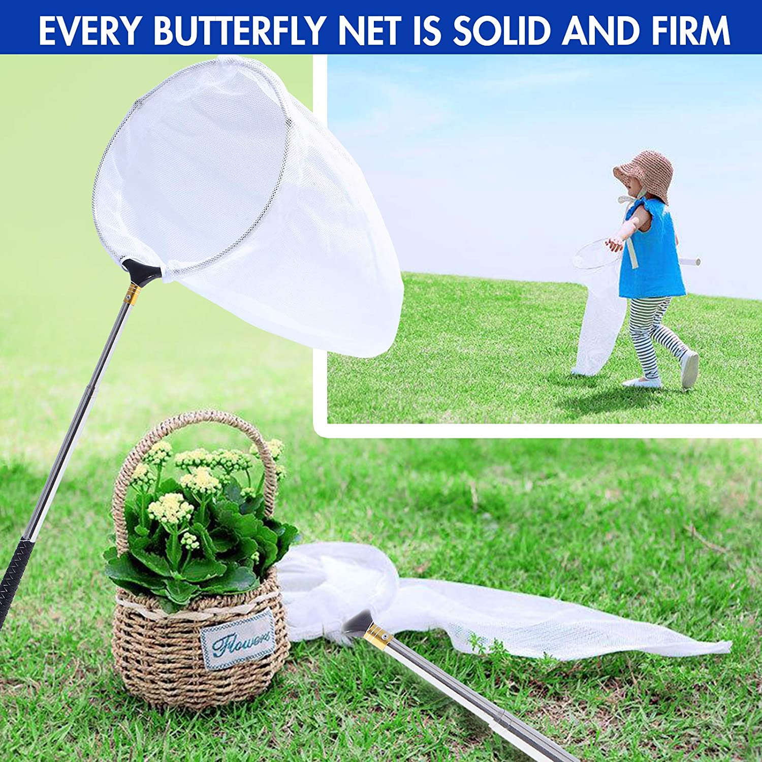 Silver 70 in Insect Toy Nets for Kids and Family Rngeo Telescopic Butterfly Net 15 in Stainless Steel Extendable Fishing