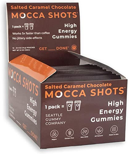 Mocca Shots Salted Caramel Caffeine Gummy 12 Packs, 12×2 Shots, 200mg Caffeine Serving Vegan, Gluten Free, All Natural, Made in USA Energy chew, Vitamin Bs, Gingko Seattle Gummy Company