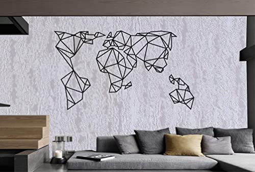 DEKADRON World Map Wall Art – Geometric World Map – 3D Wall Silhouette Metal Wall Decor Home Office Decoration Bedroom Living Room Decor Sculpture 59 W x 34 H 150x86cm