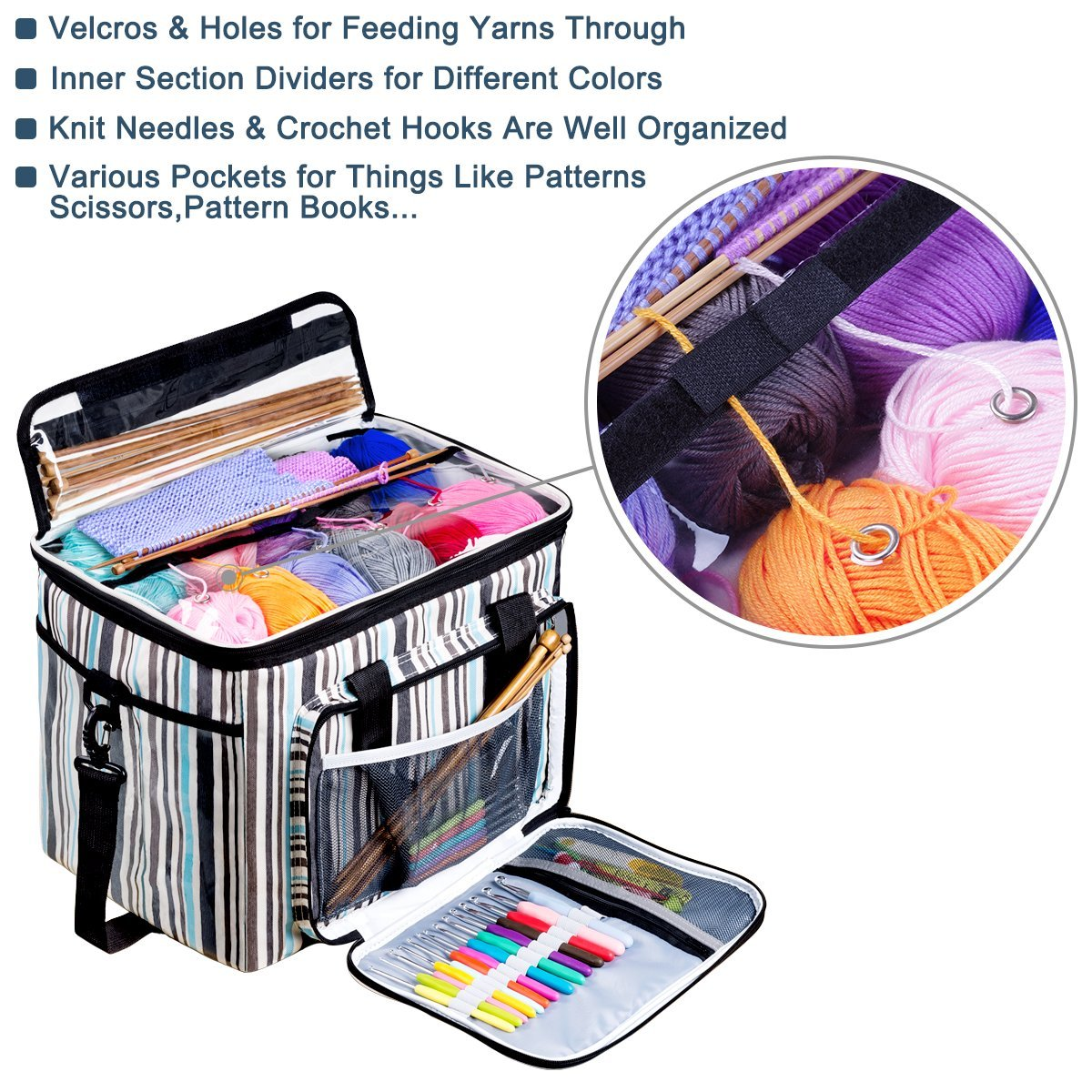 BONTIME Knitting Bag - High Capacity Striped Yarn Storage Tote Bag,Project Bags with Roomy Interior,Great for Organizing Everything You Need for Each of Projects,Large by BONTIME (Image #4)