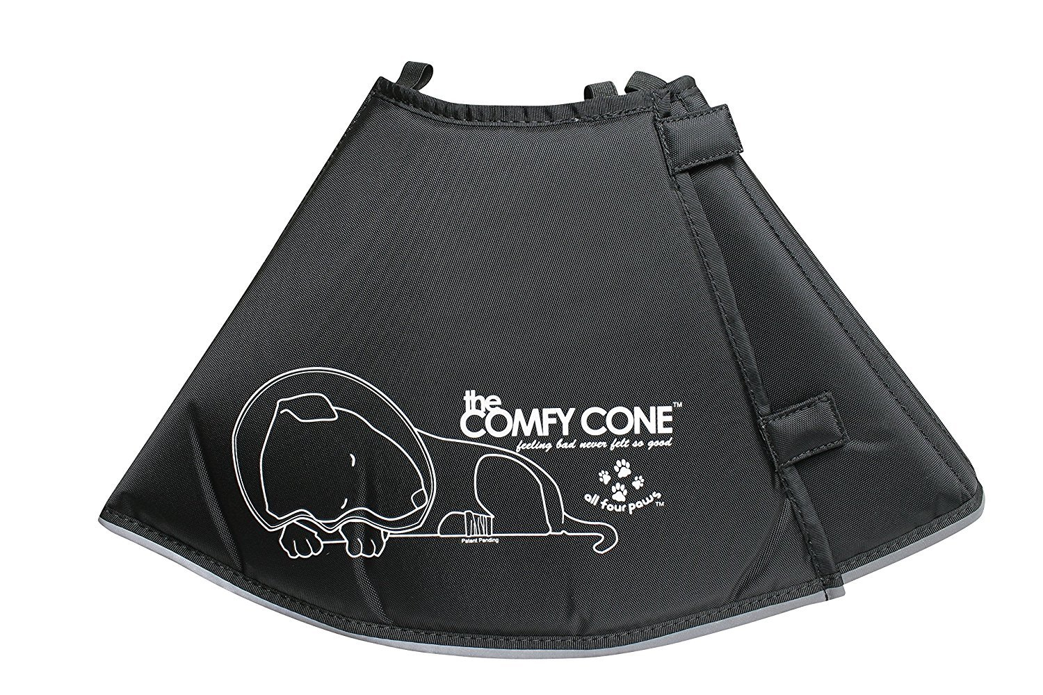 All Four Paws The Comfy Cone Pet Recovery Collar Black MEDIUM-Extra Long 30cm