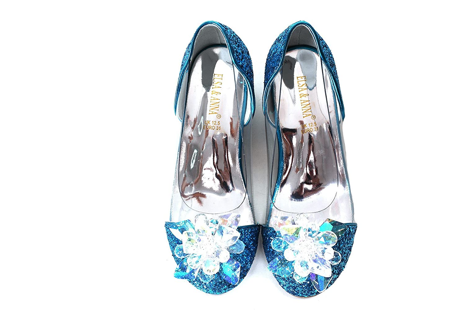 ELSA & ANNA® UK Latest Design Top Quality Girls Princess Snow Queen Wedged Party Shoes Sandals BLU14-SH UK1stChoice-Zone
