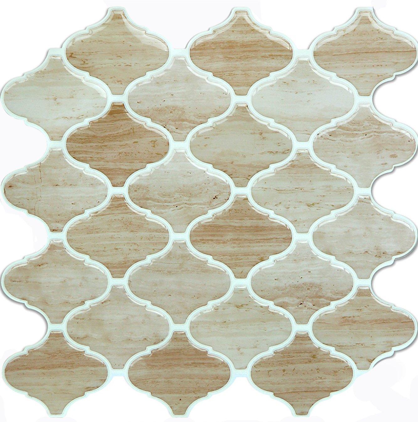 Vamos Tile Wood Grain Arabesque Peel and Stick Tile Backsplash,3D Self Adhesive Wall Tiles for Kitchen & Bathroom-10 x 10''(6 Tiles) by Vamos Tile