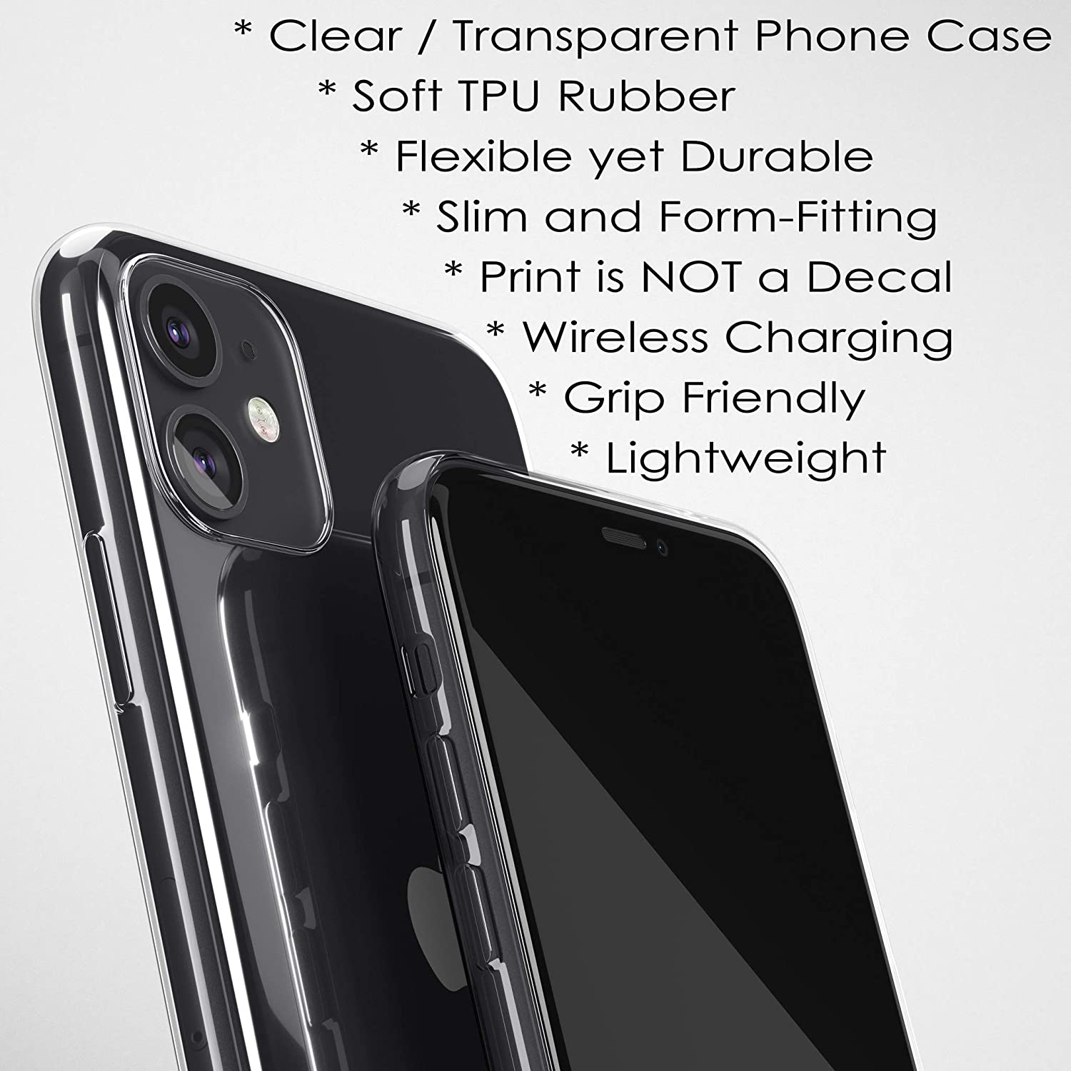 Clear Phone Case with Personalized Name for iPhone XS Max XR X 10S 10R 10 8 Plus 7 6s 6 SE 5s 5 Slim Flexible Transparent TPU Rubber