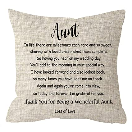 NIDITW Nice Mothers Day Birthday Gift to Aunt from Nieces with Funny Quotes  Body Cream Burlap Throw Pillow Case Pillow Sham Cushion Cover Chair Couch  ...