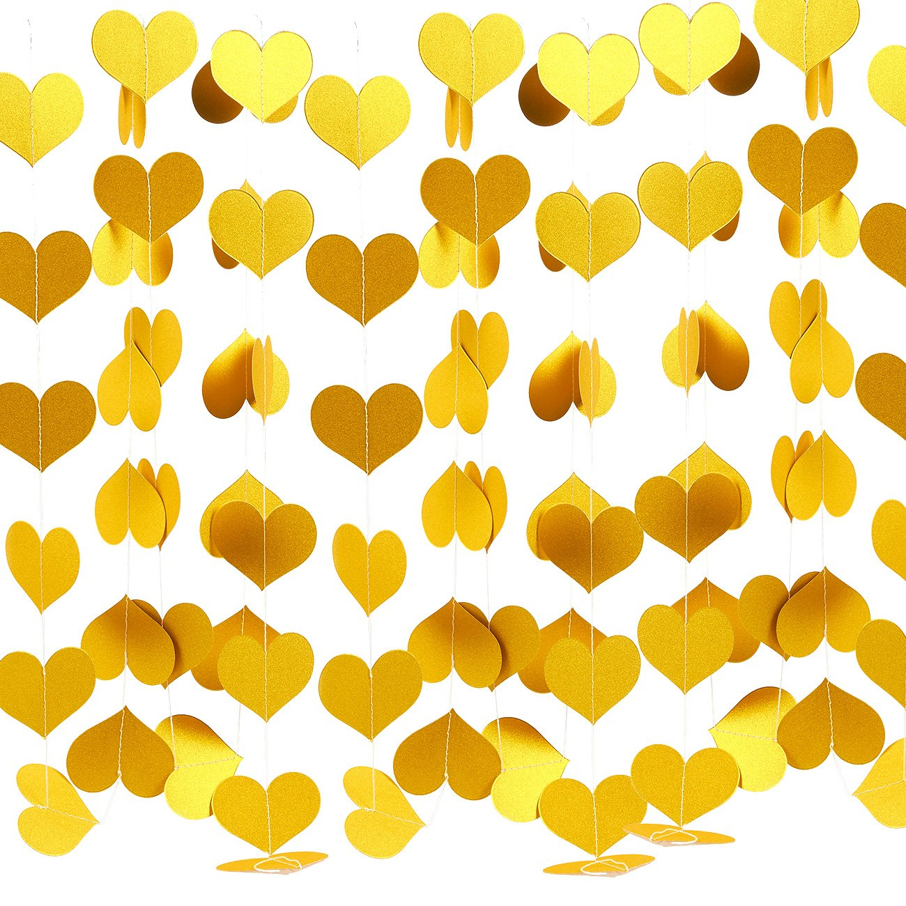 Amazon.com: 3 Pack Valentine\'s Day Decorations - Gold Heart Hanging ...