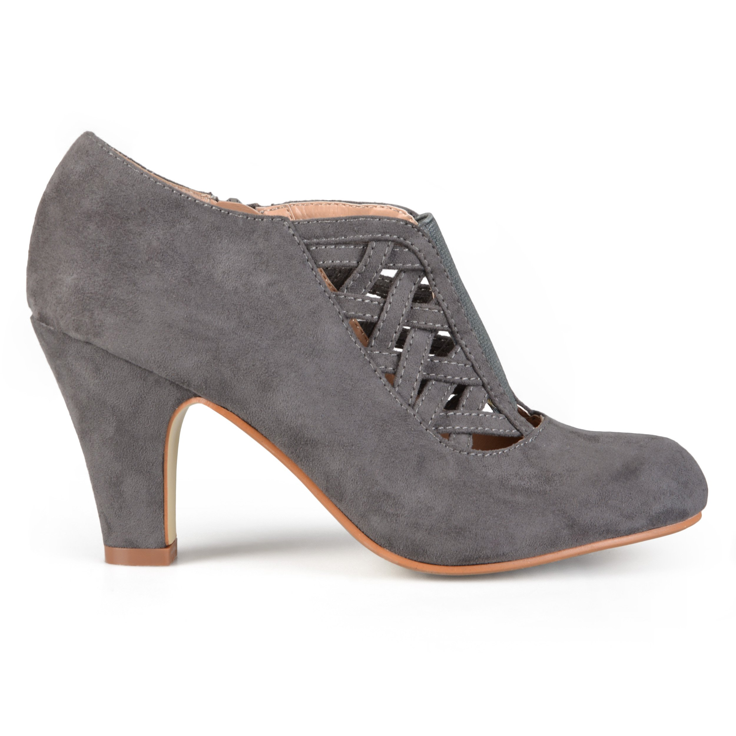 Brinley Co. Womens High Heel Round Toe Bootie Grey, 8 Wide Width US