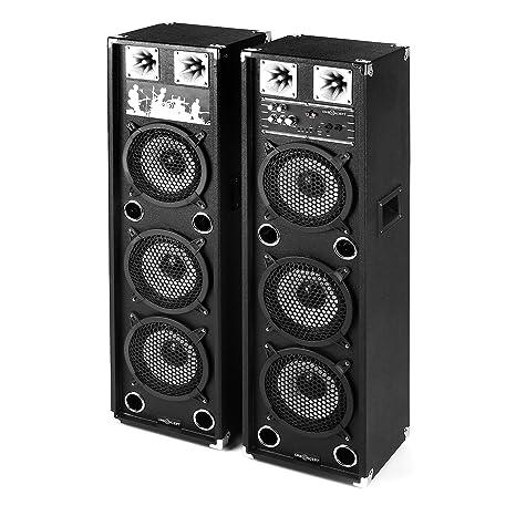 oneConcept BSX-238A pareja de altavoces PA (2 altavoces de 2 vías, activo y pasivo, 200 W, USB, micro-SD, bassreflex, 2 entradas para micrófonos, ...