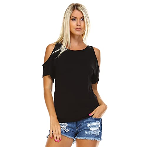Isaac Liev Women's Open Cutout Cold Shoulder Short Sleeve Top – Made in USA