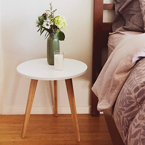 STNDRD. Bamboo End Table: Mid-Century Modern. Bedside Nightstand or Living Room Side Table Set of 2