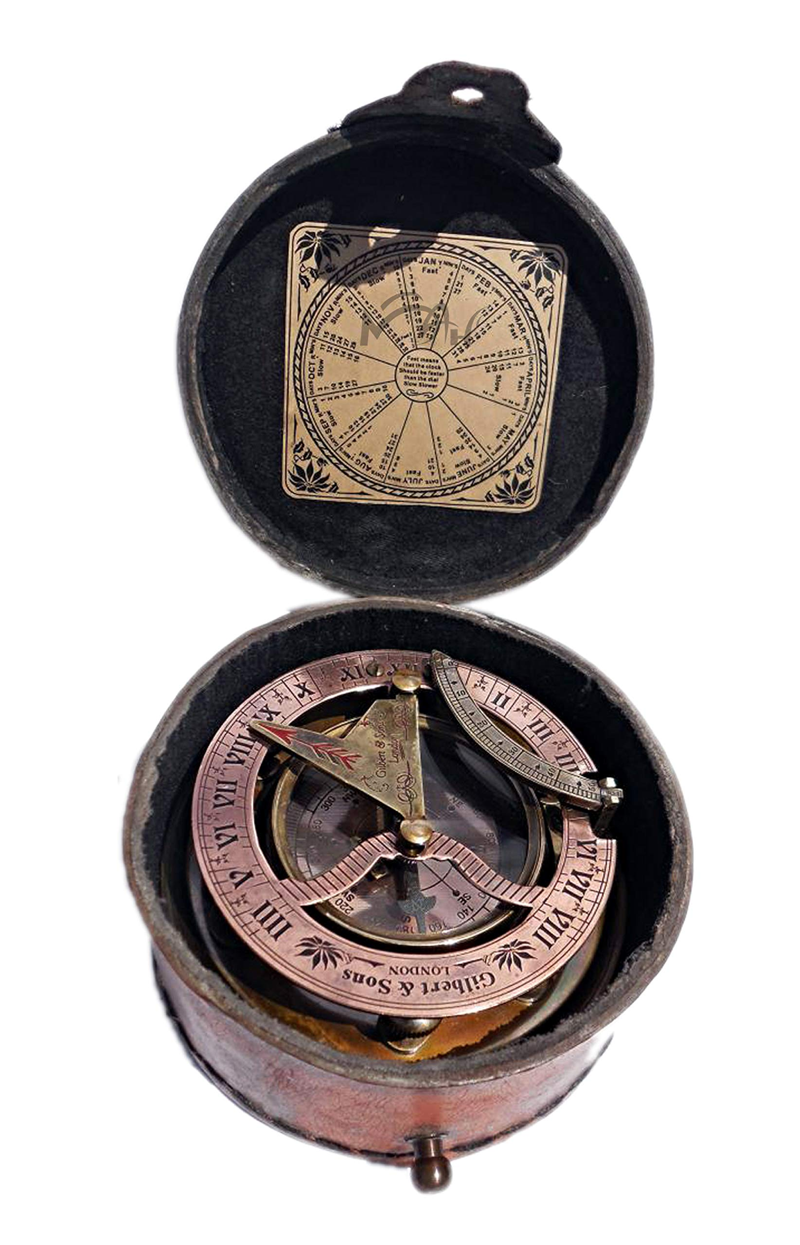 MAH Birthday Gift, Solid Brass Sundial Compass in Fitted Stamped Leather case. C-3060