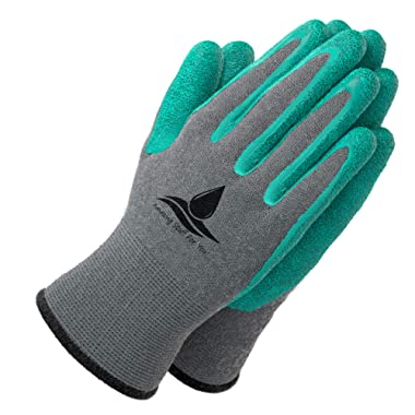 Garden Gloves for Women and Men - (2 pairs per package) - Super Grippy with Special Protective coating against cuts for Gardening - Fishing - Auto and Work activities S,M,L Sizes (Large, Green)