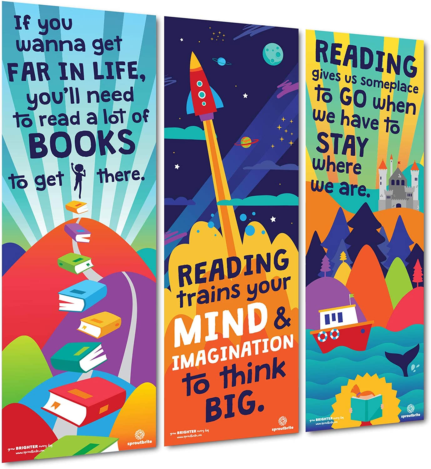 Sproutbrite Classroom Decorations - Vertical Reading Banner and Poster for Teachers - Bulletin Board and Wall Decor for Pre School, Elementary and Middle School