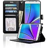Samsung Galaxy Note 5 Case NAVOR Wallet Case Card Slots, Money Pocket - Black