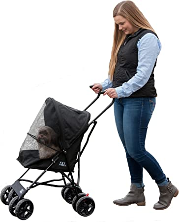 Pet Gear Travel Lite Pet Stroller for Cats and Dogs up to 15-pounds, Black - Best For Ventilation System