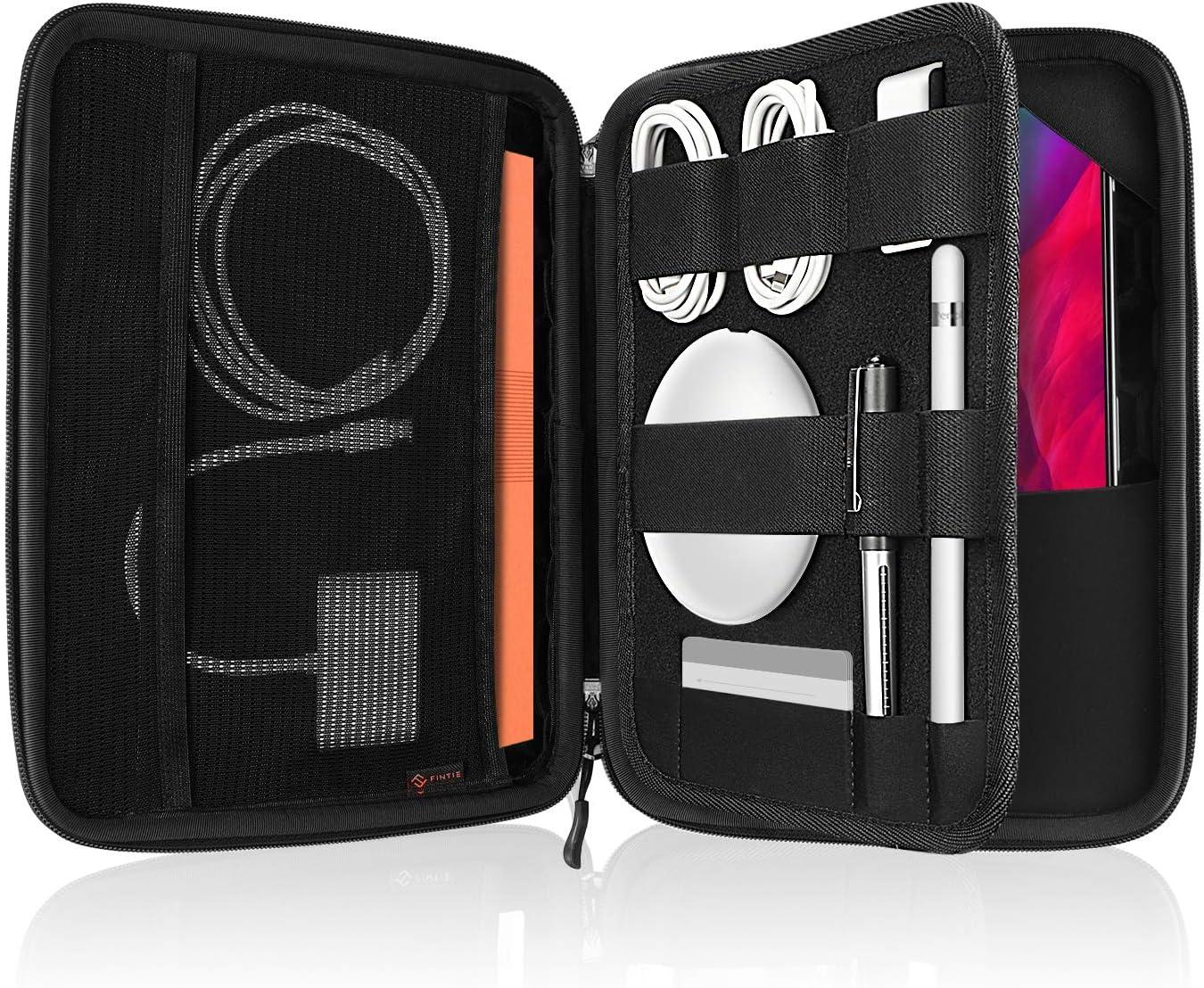 "FINPAC Portfolio Sleeve Bag for 10.9'' iPad Air 4 11'' iPad Pro 10.2"" iPad 10.5"" iPad Air/Pro 9.7"" iPad, 11 Inch Tablet Hard Carrying Case with Accessory Organizer Storage, Black"