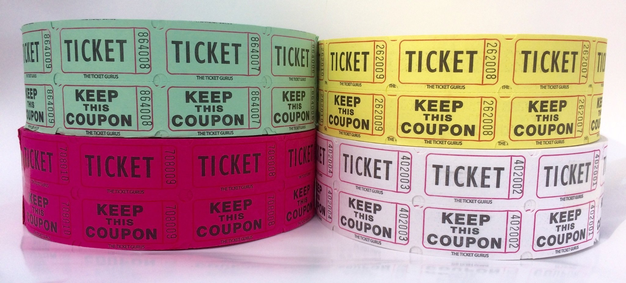 The Ticket Gurus-Raffle Tickets - (4 Rolls of 2000 Double Tickets) 8,000 Total 50/50 Raffle Tickets (Purple/Green/White/Yellow) by The Ticket Gurus
