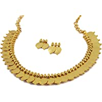 MUCH MORE Brass Alloy Gold Plated Choker Necklace Set for Women