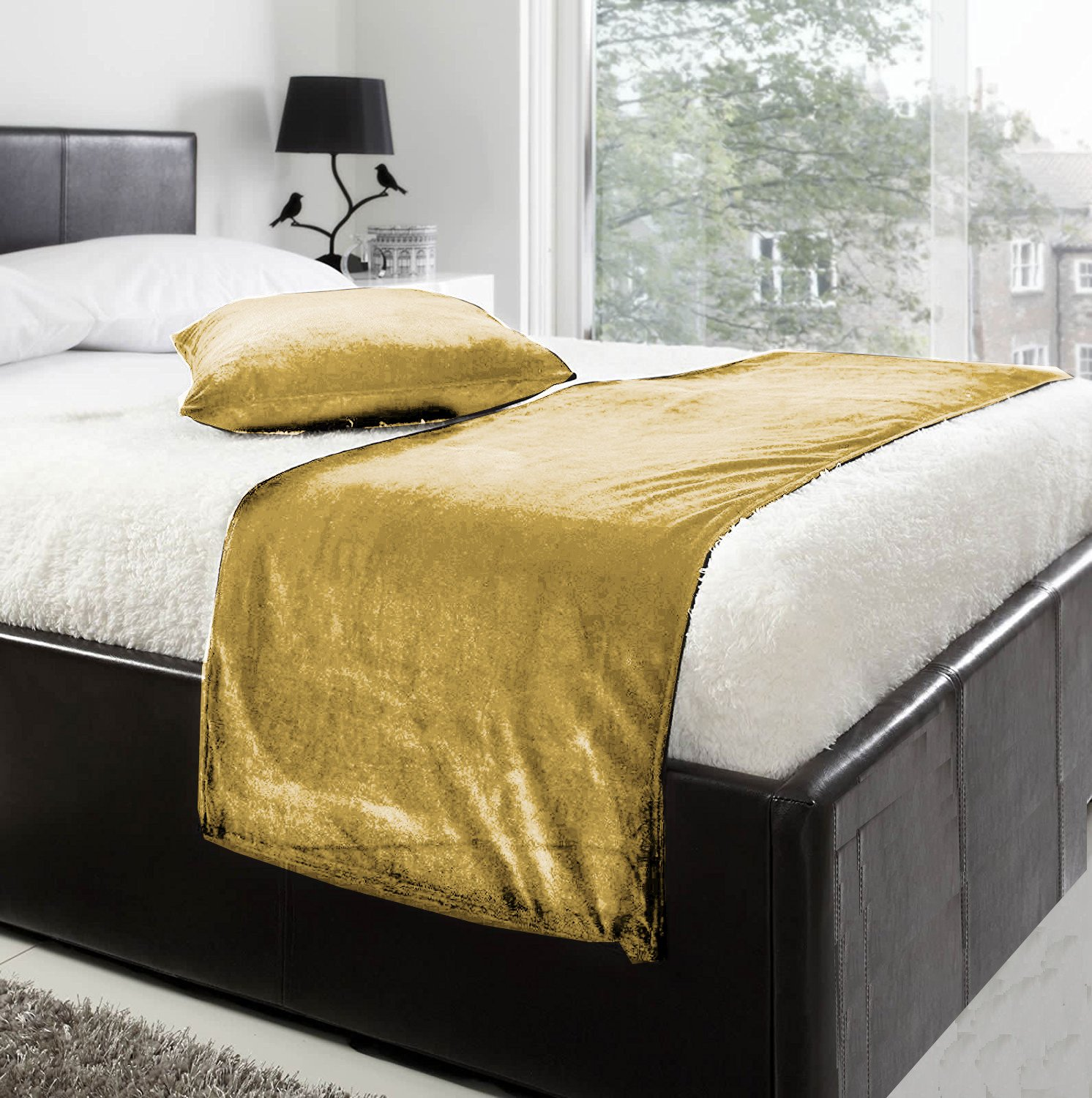 fabricart Luxury Velvet Bed Runner Set | Scarf | Throw | with 2 Cushion Cover for All Bed Sizes (Gold, King- 19.6x94.4 inch)