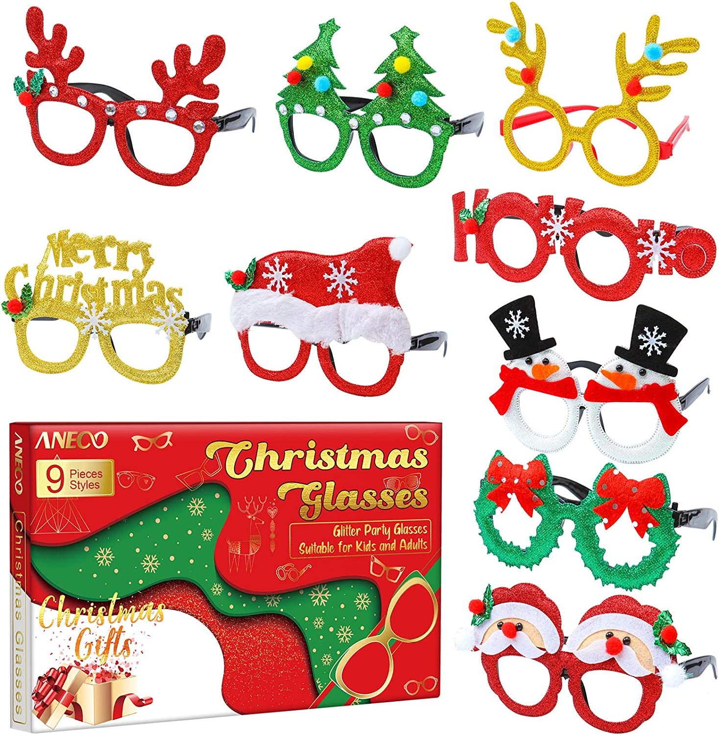 12 Pieces Christmas Glasses Frame Glitter Party Glasses Christmas Decoration Costume Eyeglasses for Xmas Holiday Favors Christmas Parties