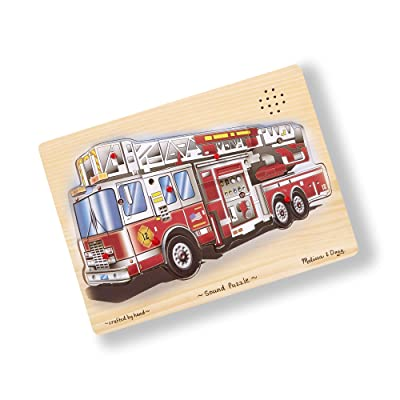 Melissa & Doug Fire Truck Sound Puzzle - Wooden Peg Puzzle With Sound Effects (9 pcs): Melissa & Doug: Toys & Games