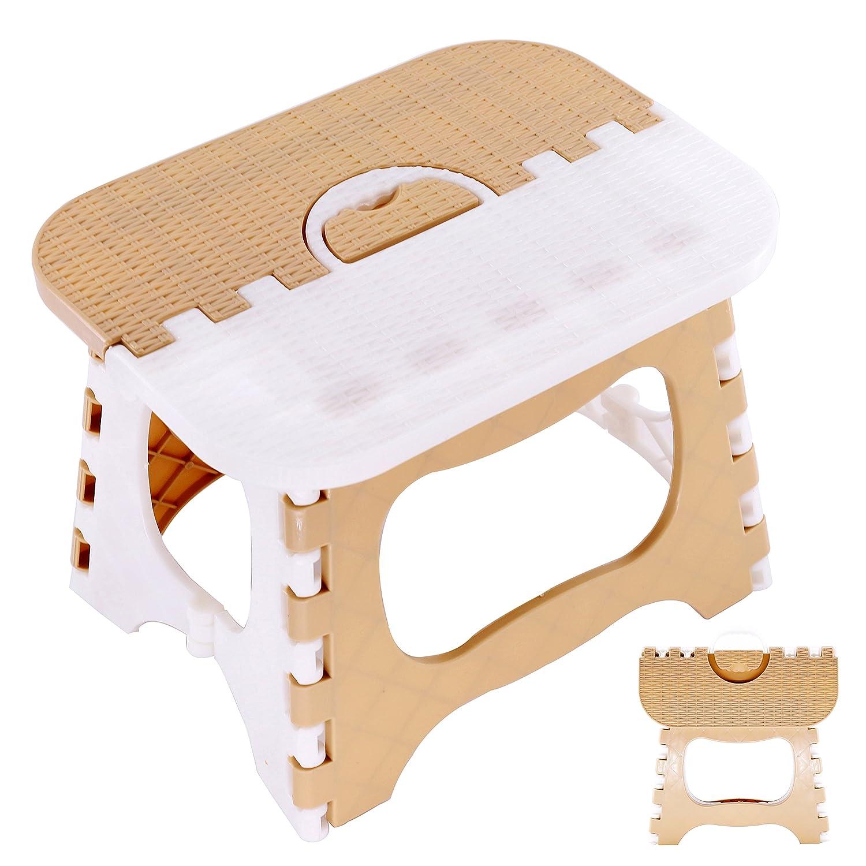 QH-Shop Plastica Pieghevole Sgabello, Sgabelli con Gradini per Camerette Multi Scopo per Cucina Bagno Gabinetto Caravan per Bambini Adulto Cachi