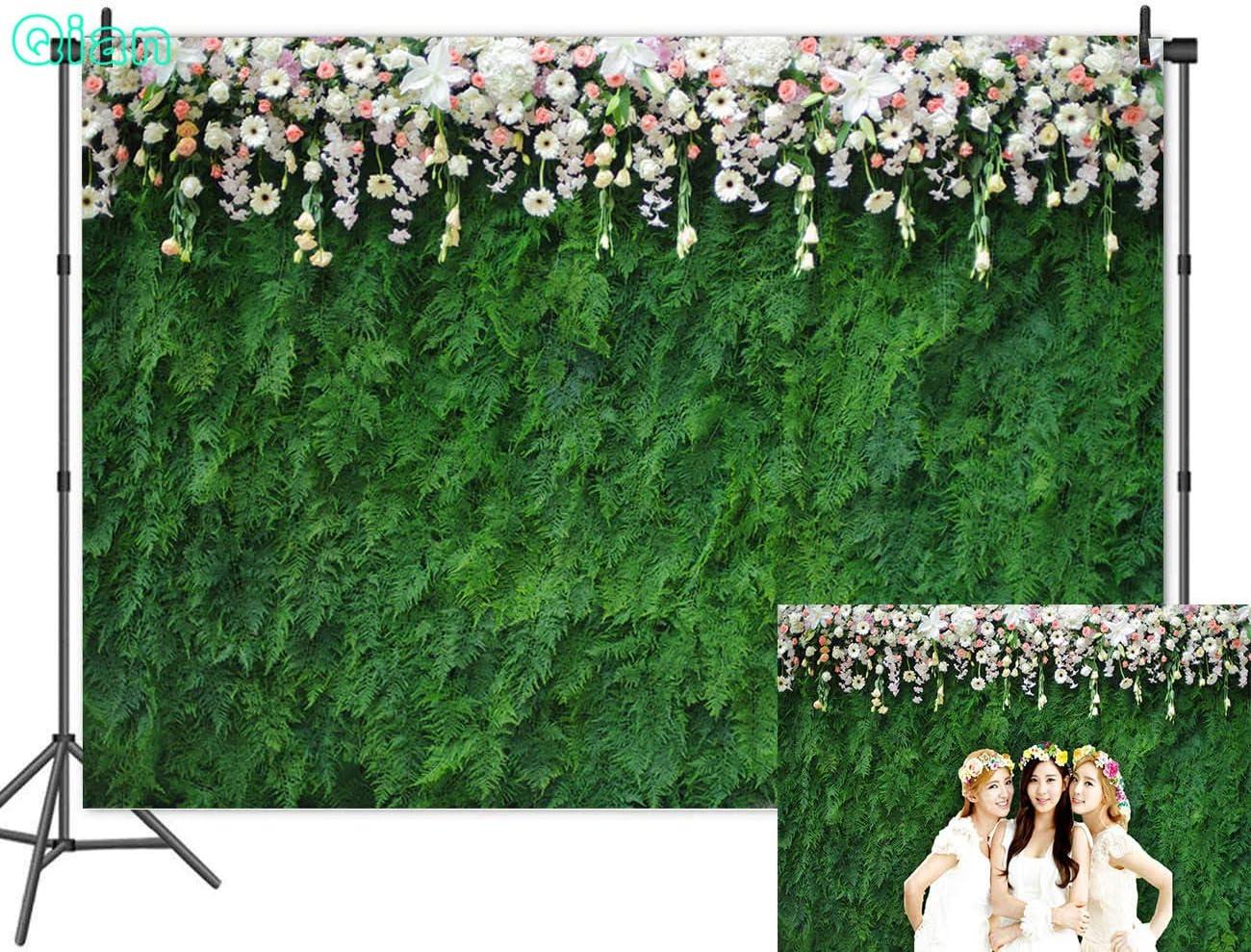 Qian Vinyl 9x6ft Nature Green Leaf Photography Backdrops 3D Floral Photo Backdrops for Wedding Bridal Shower Decoration Studio Props Banner
