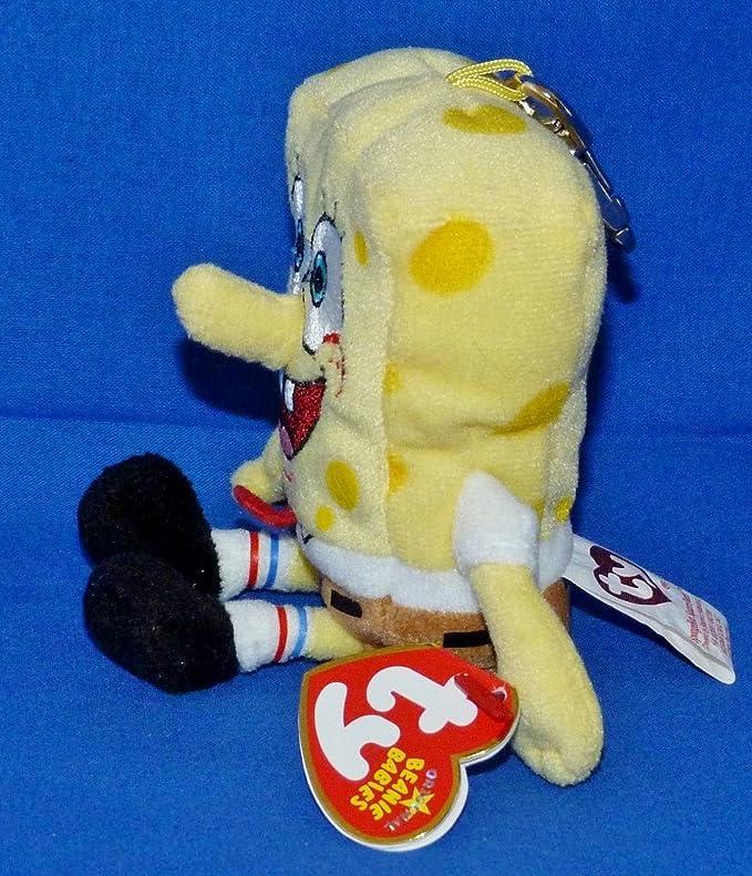 Free Shipping Ty Beanie Baby SpongeBob SquarePants Key Clip MWMT Metal Clip