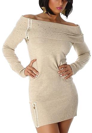 Jela London Damen Strickkleid Pulloverkleid Longpulli Carmen Ausschnitt  trägerlos schulterfrei Strass Applikation Glitzer Reißverschluss, Beige   Amazon.de  ... 0d9df2be4b