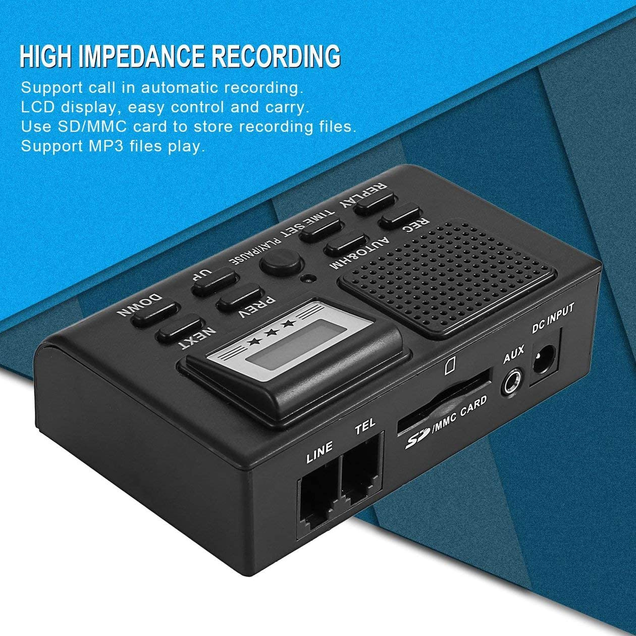 Biyi DSXR Digital-Telefon-Aufnahme-Box LCD Display Support SD-Karte automatische Aufnahme tragbares Mini-Phone Call Recorder schwarz